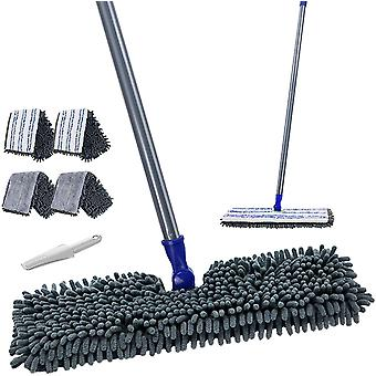Flat Mop with 4 Mop Pads Double Sided Hardwood Floor Dust Mop Microfiber & Chenille Wet Dry Mop