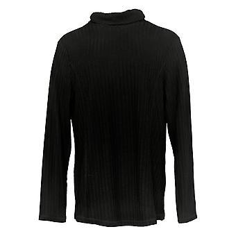 Susan Graver Mujeres's Top suéter acanalado punto cuello de tortuga negro A384244