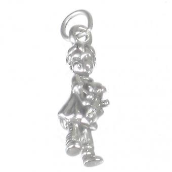 Girl Holding Teddy Bear Sterling Silver Charm .925 X 1 Girls Charms - 1421