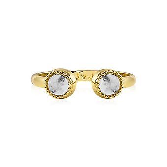 Joma Sieraden Capri Howlite Ring Gouden Ring 4498