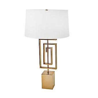 Block Base Geometric Metal Lámpara de Mesa con Sombra de Tambor Cónico Poco Profundo, Oro
