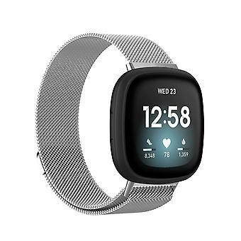 """Fitbit Versa 3 / Sense Strap Milanese Ranneke Ruostumaton Teräs Magneettinen [Pieni (5.3""""-7.9""""),Hopea]"""
