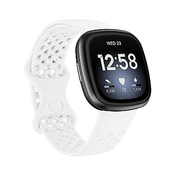 for Fitbit Versa 3/ Sense Replacement Band Strap Silicone Bracelet Wristband[Large,White]