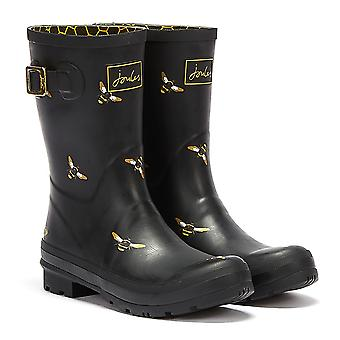 Joules Molly Mid Height Metallic Bees Womens Black Wellies