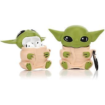 Silikonikotelo yhteensopiva Airpods 1&2 -Yoda Alien Designin kanssa (keltainen)
