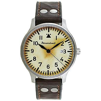 Aristo Herren Messerschmitt Uhr Fliegeruhr ME-42Vintage-1 Vintage Leder