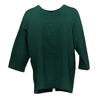 Denim & Co. Women's Plus Top Essentials Perfect Jersey Green A91601