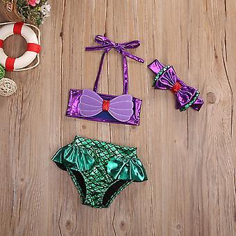 2020 New 3pcs Toddler Kids Baby Mermaid Bowknot Swimsuit Swimwear Bathing Suit
