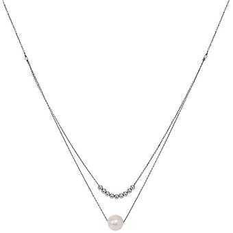 Pearls of the Orient Gratia Double Chain Freshwater Pearl Necklace - Silver