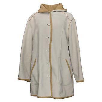 Susan Graver Frauen's Mantel Plus bonded Polar Fleece Button Up weiß A352752