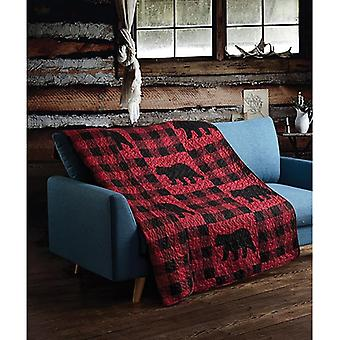 Spura Home Pictorial Buffalo Plaid Red Primitive Novelty Quilted Throw