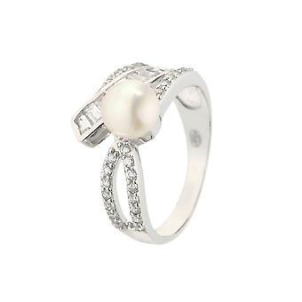 Anillo de plata, perla cultivada blanca y óxidos de circonio