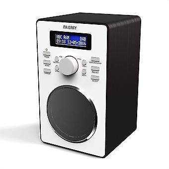 Wokex Barton II DAB/DAB+ / UKW Digital-Radio, Retro Radio batteriebetrieben, Doppelwecker,