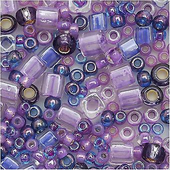توهو متعددة الأشكال الخرز الزجاج 'Kawaii' الأرجواني / الأزرق اللون ميكس 8 غرام أنبوب