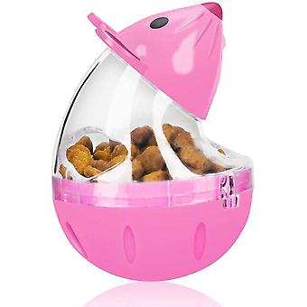 Slow Feeder Mouse Toy Cat Safe Durable Food Dispensing Tumbler Treat Ball Kitten Toys(pink)