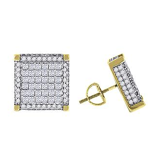 925 Sterling Silver Yellow tone Mens Princess CZ Cubic Zirconia Simulated Diamond Square Stud Earrings Jewelry Gifts for