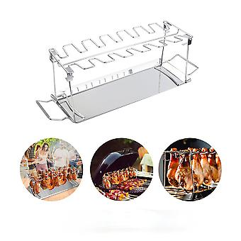 Chicken Leg Wing Grill Rack 14 Slots BBQ Stainless Steel Barbecue Drumsticks Holder Smoker Oven Roaster Stand with Drip Pan