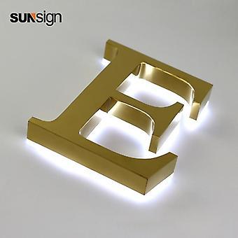 זהב תאורה אחורית סימנים נירוסטה ערוץ מכתב