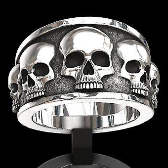 Gran anillo con esqueleto de calavera negro blanco rock punk