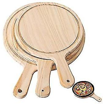 Pizza Tray Wooden Round Pizza Board Cutting Platter Kitchen Baking Tool With Handle(14 Inch)