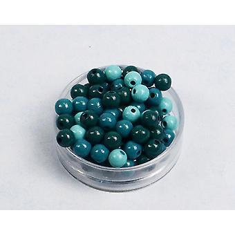 8mm turkis Mix træ Threading perler voksne håndværk - 118pk