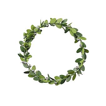 7cm Runder Kranz | Künstliche Blätter & Silber Dekoration