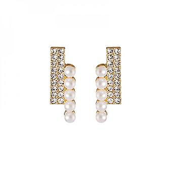 Stylish Earrings With Silver Needles, Diamonds And Pearls