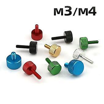 Screws 10pcs m3 m4 aluminum alloy thumb screws diy adjust chassis screw multiple color
