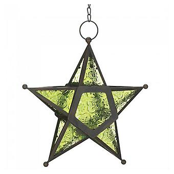 Gallery of Light Glass Star Hanging Candle Lantern - Green, Pack of 1