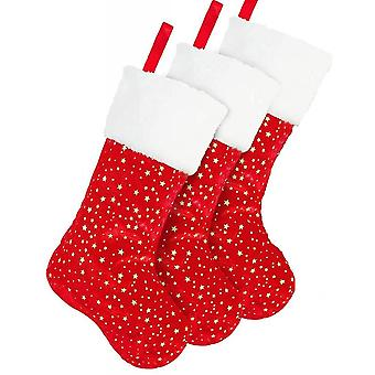 3 Pack Red Christmas Stockings With Golden Stars Christmas Hanging Stocking