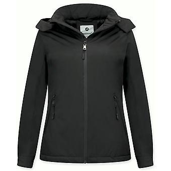 Short Winter Coat - Slim Fit - With Hood - Black