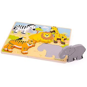 Wooden pegged puzzles chunky lift out safari puzzle