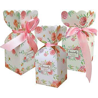 50 Stück Geschenktaschen Rosa Süßigkeiten Box Band Dekoration Hochzeit Geburtstag Party Geschenk