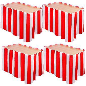 4 חבילות בדים מפוספסים אדומים ולבנים קרנבל קרקס חצאית שולחן