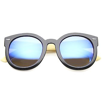 Eco-Friendly Real Bamboo Temples Mirrored Lens Round Sunglasses 53mm