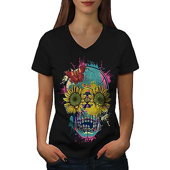 Sun Flower Sugar Women BlackV-Neck T-shirt | Wellcoda