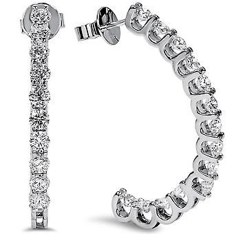 """Cerceaux de diamants de 3 1 / 4ct GH/SI à l'intérieur du cadre blanc or 1 1/2"""" au Style U extérieur"""