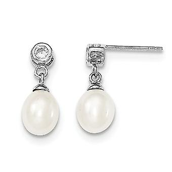 Sterling Silver Freshwater Cultured White Pearl 7-8mm Post Dangle Earrings