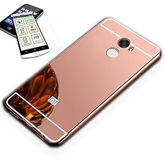 Mirror / Spiegel Alu Bumper 2 teilig Pink + 0,3 mm H9 Hartglas für Xiaomi Redmi 5 Plus