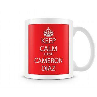 Houd kalm ik liefde Cameron Diaz afgedrukt mok