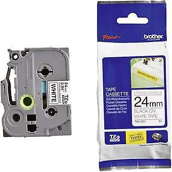 Merking tape (ekstra sterk lim) bror TZe, TZ TZe-S251 Tape farge: hvit skrift farge: svart 24 mm 8 m