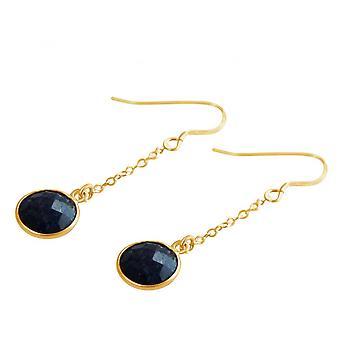 الأزرق-2 سم-ياقوت-السيدات مطلية بالذهب-أقراط-حلق-925 الفضة-