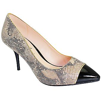 Ladies Pointed Toe Snake Print Patent Contrast Women's Low Heels Bag Clutch