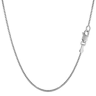 Collana di catena 10 del Box specchio oro solido bianco k, 0,8 mm