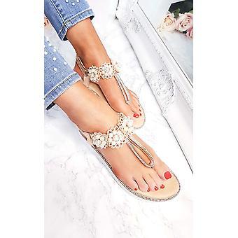IKRUSH Womens Aviana Pearl embelli sandales coincés