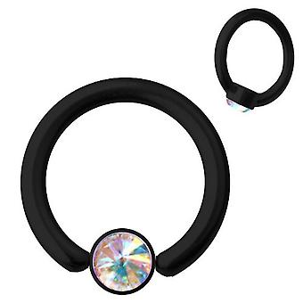 Smiley Piercing BCR Black Titanium 1,2 SWAROVSKI ELEMENTS Aurora Borealis | 6-10 mm