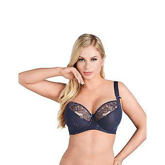 Nessa Women's Miya Navy Blue Solid Colour Embroidered Underwired Full Cup Bra