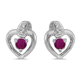 LXR 14k Vit Guld Rund Rubin och Diamond Heart Örhängen 0.24ct