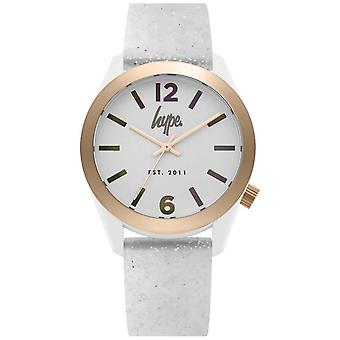 Hype | Womens White Glitter Silikon-Strap | Silber Dial | HYL004S Watch
