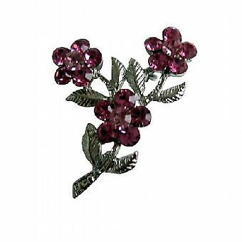 Cristalli rosa fiore w / argento placcato staminali & foglia spilla Pin